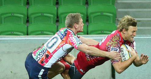 Reds wing Lachie Turner scoring against the Rebels