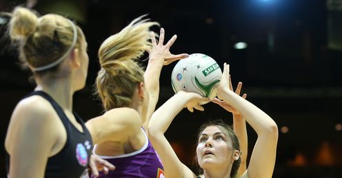 Ellen Halpenny of the Magic shoots for goal during the ANZ Championship Prelim Final against the Firebirds