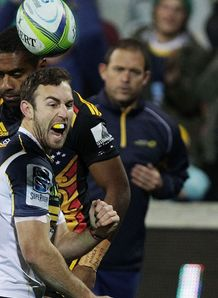 Brumbies scrum half Nic White after scoring against Chiefs