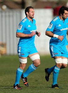Kieran Read C runs with Sam Whitelock L during a Crusaders Super Rugby training session