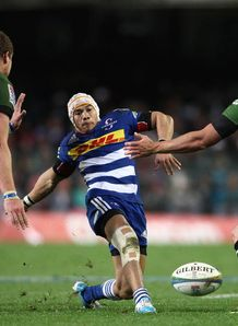 Stormers wing Cheslin Kolbe kicking against the Bulls
