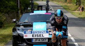 Bernhard Eisel and Geraint Thomas were both followed by a custom Jaguar F-Type in the time trial