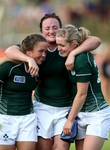 Ashleigh Baxter Ailis Egan and Vikki McGinn of Ireland Women s Rugby team