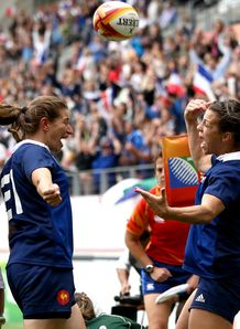 Elodie Guiglion of France R celebrates with Christelle Le Duff of France L IRB Women s Rugby World Cup 2014 3rd Place Playoff