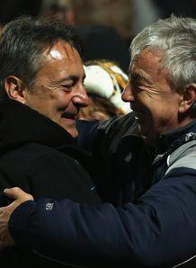 Nigel Davies hugging Huw Evans