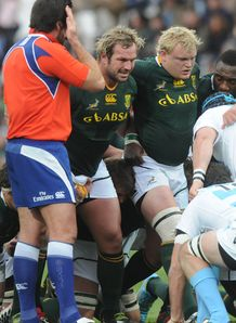 South Africa front row scrum jannie du plessis argentina 2012