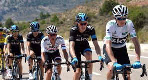 From right, Chris Froome, Luke Rowe, Peter Kennaugh, Philip Deignan and Mikel Nieve in action on stage nine