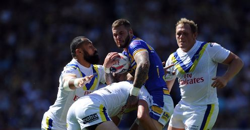 RUGBY LEAGUE ZAK HARDAKER OF LEEDS RHINOS IS TACKLED BY STEFAN RATCHFORD AND ROY ASOTASI WARRINGTON WOLVES DURING THE TETLEY'S CHALLENGE CUP SEMI FINAL