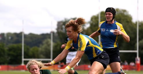 UNION VIKKI MCGINN OF IRELAND TOUCHES DOWN A TRY DURING THE IRB WOMEN'S RUGBY WORLD CUP POOL B MATCH BETWEEN
