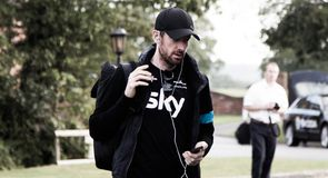 Sir Bradley Wiggins was the first rider to board the bus at the team hotel...