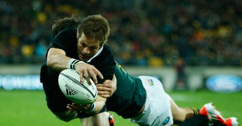 Richie McCaw of the All Blacks scores a try during The Rugby Championship New Zealand v South Africa 2014