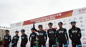 Team Sky were all smiles before the sign in in Yanqing
