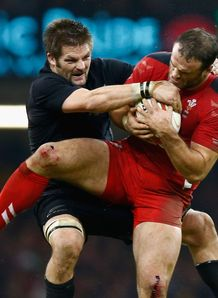 Richie McCaw and Jamie Roberts in Wales v New Zealand game