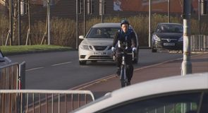 Baker gets on his bike