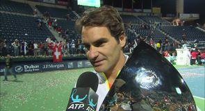 Federer ecstatic after victory in Dubai