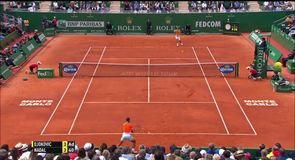 Nadal wins great rally against Djokovic