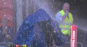 Drenching for rugby league cameraman