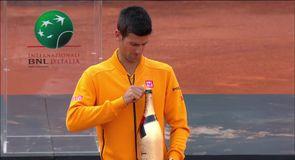 Djokovic's champagne mishap!