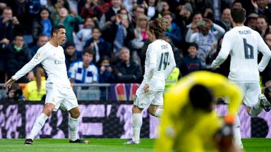 Ronaldo gets brace to put Madrid top