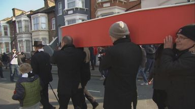 Charlton fans stage mock funeral