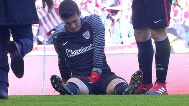 Keeper gets injured taking goal kick