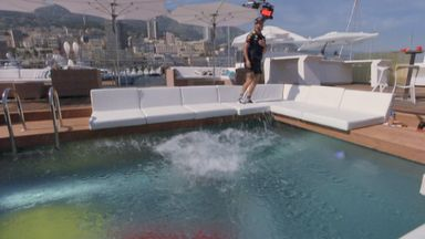 Ricciardo throws Pinkham in the pool!