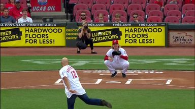 Karl Anderson throws out first pitch