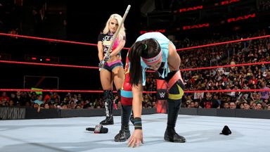 Bliss attacks Bayley with kendo stick