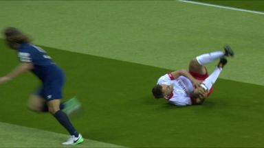 Puyol's horror tackle on Neville