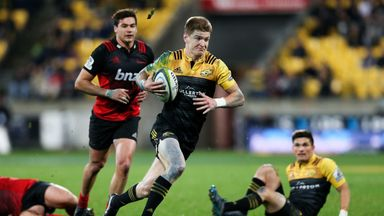 Watch Hurricanes' Jordie Barrett score try after 'headed' pass