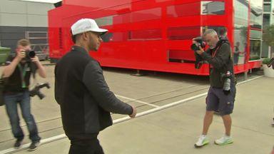 Hamilton arrives at Silverstone