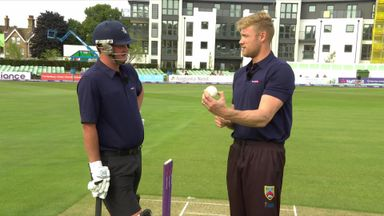 Flintoff's batting and bowling demo