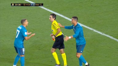 Ronaldo sees red and pushes ref!