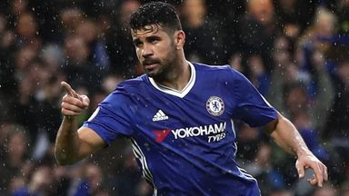 Costa trains in Chelsea kit