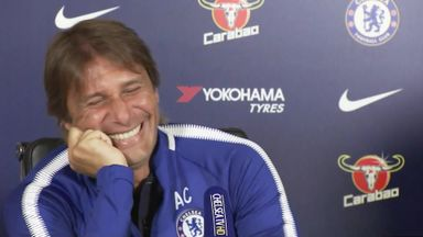 Conte giggles at Costa question