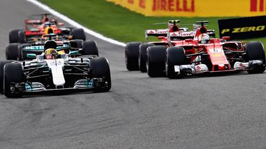 Lewis and Seb battle at restart