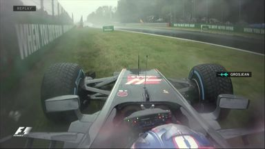 Grosjean crashes in Q1