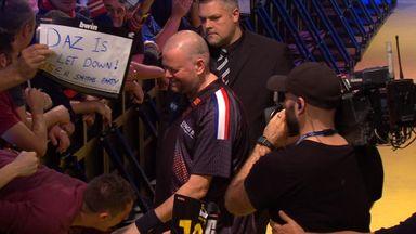 Darts fan takes a tumble!