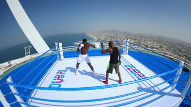 AJ hits world's highest boxing ring