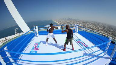 AJ hits world's highest boxing ring