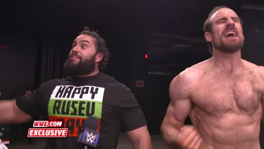 Rusev & English in a celebratory mood