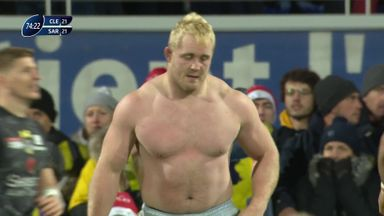 Saracens prop plays shirtless