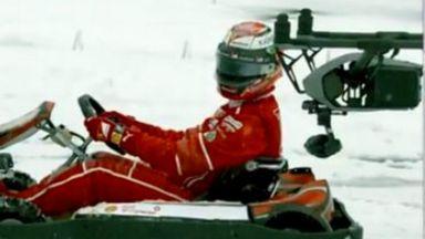 Kimi Raikkonen swaps his Ferrari to face a drone in the snow