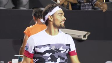 Fognini loses racket, but wins point!