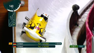 Spectacular bobsleigh crash