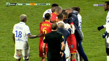Auxerre teammates sent off for fighting