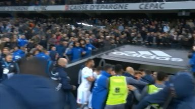 Marseille and Lyon players clash in tunnel