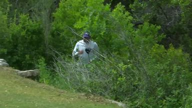 Garcia throws club into bushes!
