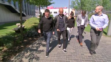 Pep arrives at Sky Sports