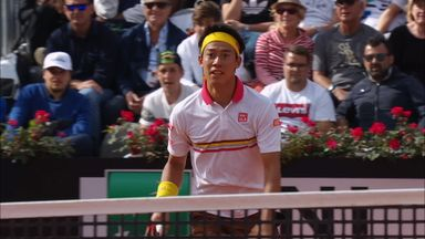 Nishikori wins great rally